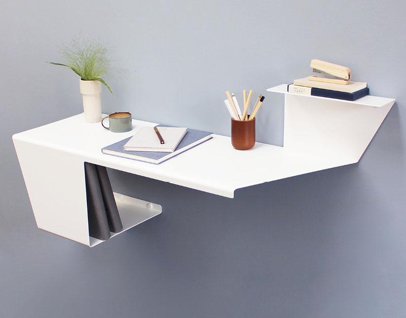 طراحی میز کار دیواری مینیمال برای فضاهای کوچک