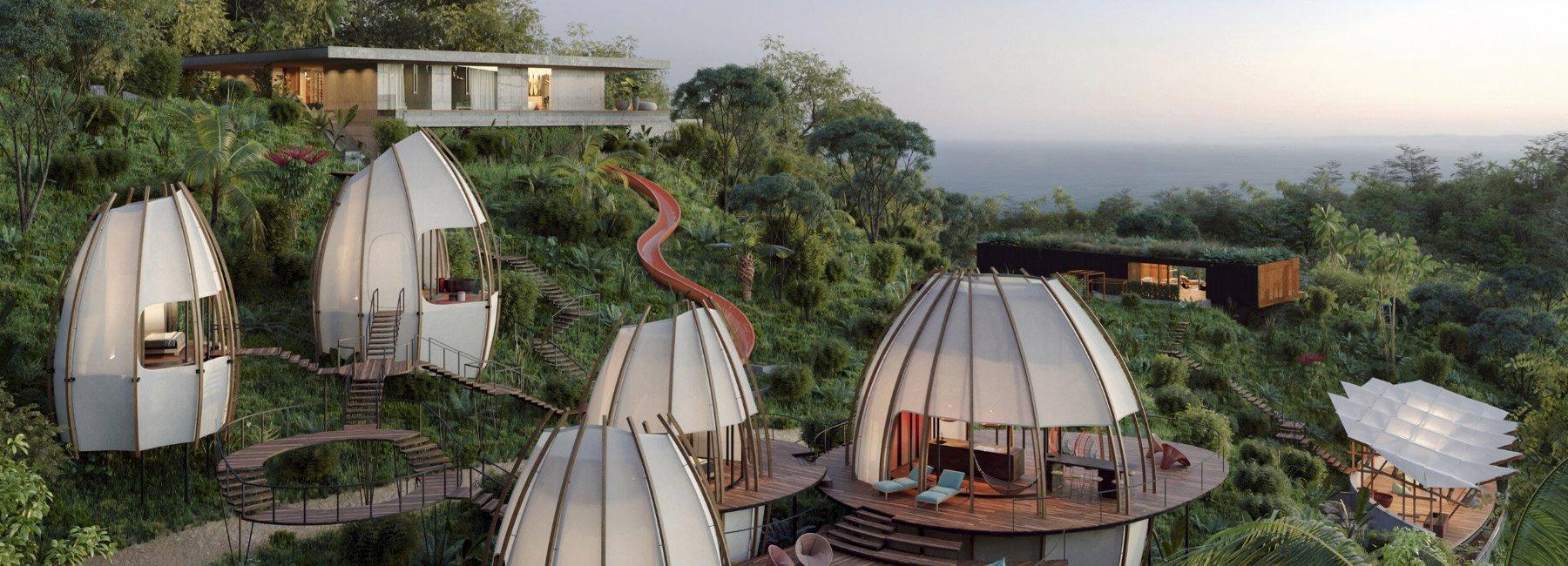 ویلاهای هنری در کاستاریکا با پوسته ی بیرونی مخروطی شکل