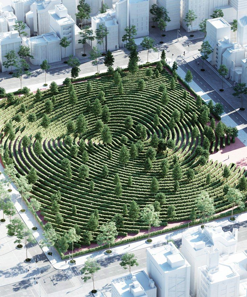 طرح اثر انگشت الهام بخش پارکی با فاصله اجتماعی